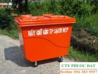 bán xe đẩy rác 660 lít dùng thu gom rác thải, thùng rác composite 240 lít bền rẻ