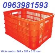 Sóng nhựa HS005, sọt nhựa có bánh xe, rổ nhựa công nghiệp giá rẻ