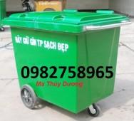Bán xe gom rác 660 lít, thùng rác nhựa 660 lít, thùng rác 3 bánh xe giá rẻ