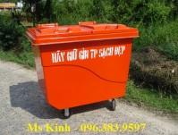 công ty sản xuất xe đẩy rác 660l và 1000 lít, thùng rác composite 240l giá rẻ