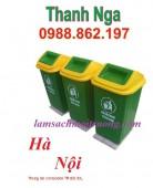 thùng rác nắp lệch 90 lít