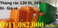 Bán thùng rác 240 lít giá rẻ bình dương- màu xanh, cam