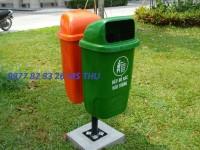 Thùng rác nhựa đôi bằng nhựa nhập khẩu, Thùng rác Composite 55l chân sắt
