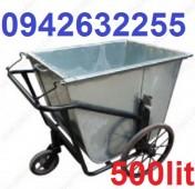 Xe gom rác bằng tôn, xe gom rác 500 lít, xe cải tiến giá rẻ