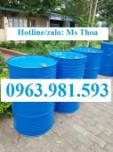 Thùng phuy sắt nắp kín đựng hóa chất 220 lít,thùng phuy 2 nắp nhỏ 220 lít.