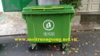 Báo giá xe gom rác 660l xanh lá nhựa HPDE