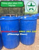 Thùng phuy nhựa 220 lít nắp kín, thùng phuy nhựa đựng hóa chất, thùng phuy nhựa