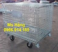 Pallet lưới trữ hàng, khung lưới thép trữ hàng nhà kho,pallet lưới có bánh xe