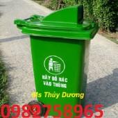 Thùng rác nhựa 120 lít, thùng rác công cộng, thùng đựng rác 2 bánh xe
