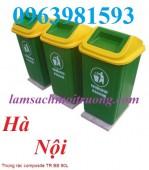 Thùng rác 90 lít, thùng rác nhựa Composite, thùng rác nắp lệch giá rẻ