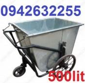 Sản xuất xe gom rác, xe đẩy rác tôn, xe gom rác 500l mới