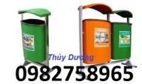 Thùng rác nhựa treo đôi, thùng rác 80l, thùng rác công cộng giá rẻ