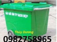 Xe gom rác 3 bánh hơi, xe gom rác 660l, xe gom rác nhựa giá rẻ