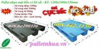 Pallet nhựa 1200x1000x150mm mặt liền có lõi sắt giá cực sốc call 0984423150