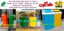 Thùng phân loại rác 2 ngăn, thùng phân loại rác nhựa composite, thùng rác