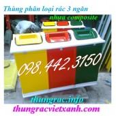 Sản xuất thùng phân loại rác 3 ngăn, thùng phân loại rác nhựa composite giá rẻ