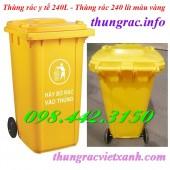 Giảm giá sốc thùng rác y tế 240 lít, thùng chứa rác thải nguy hại