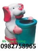 Thùng rác hình gốc cây, thùng đựng rác cá chép, thùng rác cá heo nhựa giá rẻ
