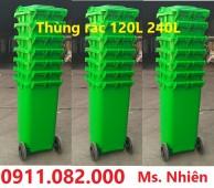 Chuyên bán thùng rác 120 lít nắp kín, 2 bánh xe giá rẻ- 0911.082.000