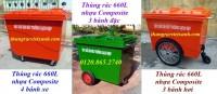 Sản xuất thùng rác 660L, xe đẩy rác 660L, xe gom rác 660L nhựa composite giá cực