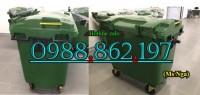 xe gom rác thải 660l, thùng rác nhựa 660l, xe gom rác thải y tế, xe gom rác bệnh