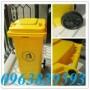 Giá thùng rác nhựa 120L màu vàng - Call: 0963.839.593 Thanh Loan