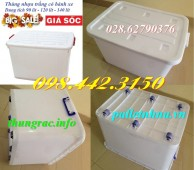 Thùng nhựa trắng có bánh xe dung tích 90L, 120L và 140L giá sốc call 0984423150