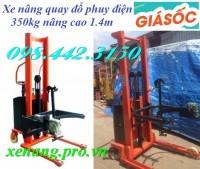 Xe nâng quay đổ phuy điện 350kg nâng cao 1.4m giá siêu rẻ call 0984423150