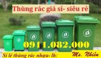 Bán thùng rác 120L 240L giá sỉ lẻ- Thùng rác nhựa hdpe nắp kín 2 bánh xe- 0911.0