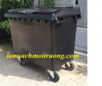 Chuyên cung cấp xe gom rác, xe gom rác nhựa 4 bánh xe, xe đấy rác nhựa HDPE 660l