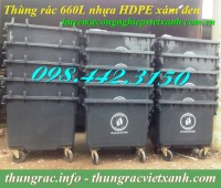 Thùng rác 660 lít nhựa hdpe màu xám đen giá sốc call 0984423150 – Huyền