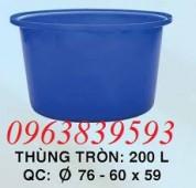 Thùng nhựa tròn 200L, thùng nhựa chữ nhật 300L siêu bền 0963.839.593