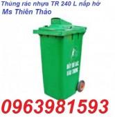 Thùng rác nhựa HDPE 240 lít, thùng rác nhựa 2 bánh xe, thùng rác nhựa Composite