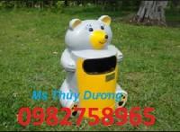Thùng rác hình con thú giá rẻ, thùng đựng rác nhựa HDPE, thùng rác hình con ếch