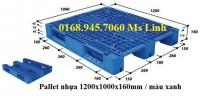 Pallet nhựa 1200x1000mmx160mm màu xanh