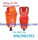 Thùng rác treo đôi, thùng rác nhựa Composite, thùng rác công cộng giá rẻ