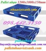 Pallet nhựa PL480 KT 1200x1000x150mm giá rẻ, siêu cạnh tranh call 0984423150