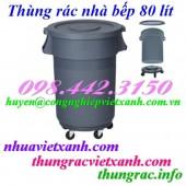 Thùng rác nhà bếp 80 lít có bánh xe - nhựa HDPE giá cực sốc call 0984423150