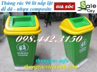 Thùng rác 90 lít nắp lật nhựa composite giá siêu cạnh tranh call 0984423150