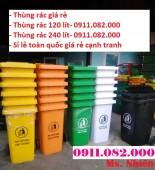 Thùng rác 120 lít 240 lít màu xanh nắp kín giá rẻ- thùng rác công cộng giá chuyê