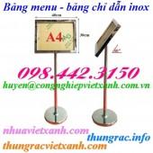 Bảng chỉ dẫn – bảng menu – bảng thông báo A4 inox