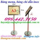Bảng chỉ dẫn – bảng menu – bảng thông báo A3 inox