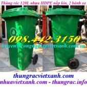 Thùng rác 120 lít nắp kín - 2 bánh xe nhựa HDPE giá siêu rẻ call 0984423150