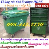 Thùng rác 660 lít nhựa HDPE 4 bánh xe màu xanh lá