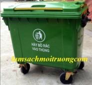 Xe gom rác nhựa HDPE, xe gom rác 660 lít, thùng rác công cộng, xe đẩy rác