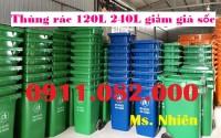 Thùng rác 240 lít giá rẻ tại bạc liêu- thùng rác có bánh xe, nắp kín- lh 0911082