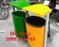 Thùng rác 2 ngăn,thùng rác 2 màu ,thùng rác công cộng
