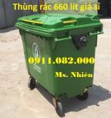 Nơi bán thùng rác 660 lít màu xanh 4 bánh xe giá rẻ- lh 0911.082.000