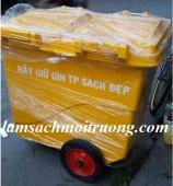 Thùng rác nhựa 660 lít 3 bánh xe, thùng rác công cộng, thùng rác giá rẻ