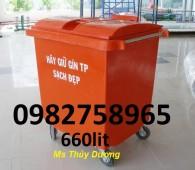 Bán xe gom rác nhựa HDPE, xe gom rác 660 lít, xe gom rác 4 bánh xe, xe đẩy rác